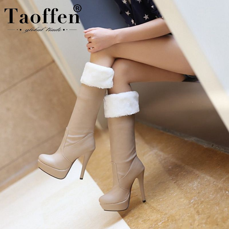 Taoffen 2020 Women Winter Warm Plush Fur Knee High Boots Platform Thin High Heels Long Boots Female Shoes Woman Size 32-43