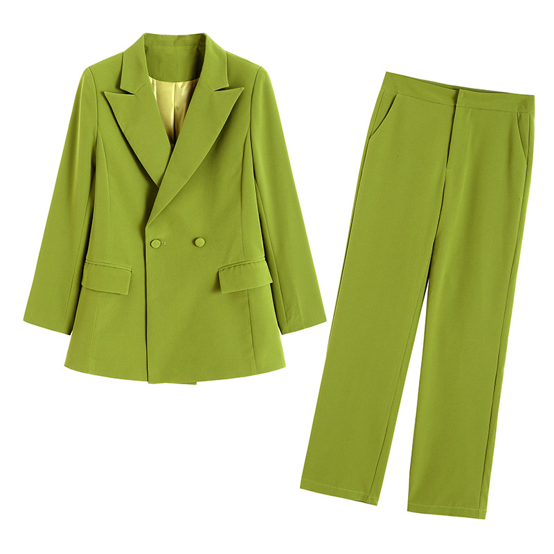 Business Wear Women's Suit Fashion High Quality Long Sleeve Double Breasted Suit Female Fashion Trouser Suit Working Two-piece