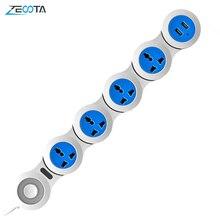 전원 스트립 4 전기 범용 콘센트 플러그 서지 보호 소켓 USB 1.8m 연장 케이블 공간 절약 실용