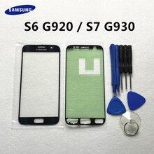 S6 S7 전면 유리 렌즈 패널 교체 삼성 갤럭시 S7 G930 G930F S6 G920 G920F LCD 터치 스크린 + 스티커 + 도구