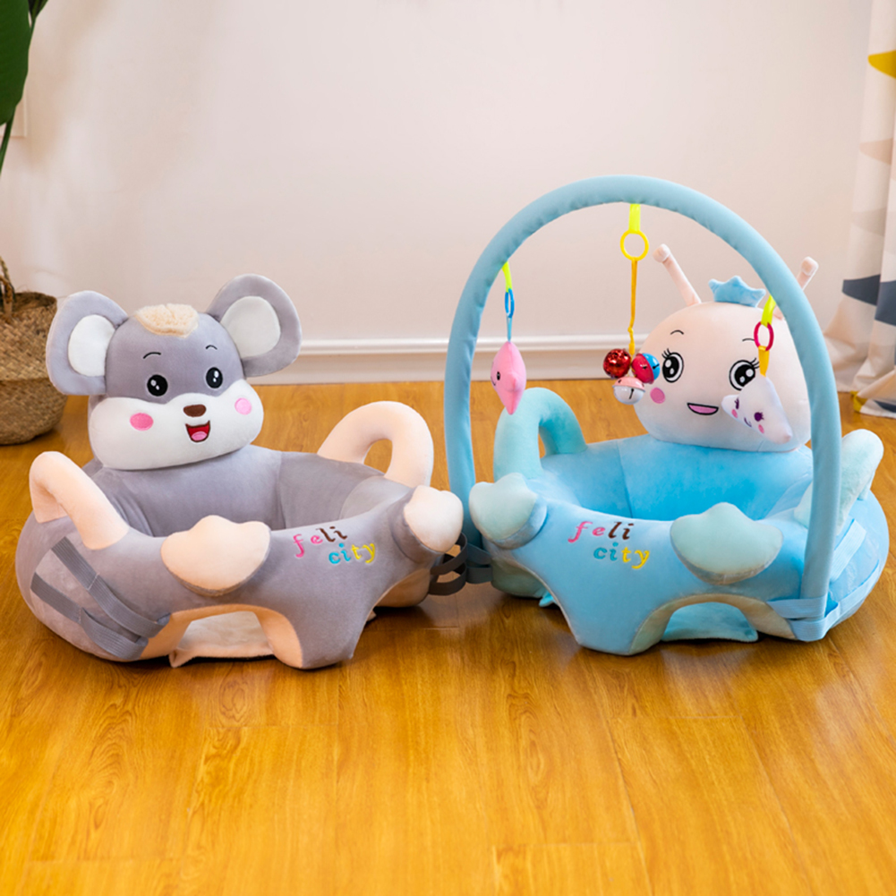 Sofa Set Support Seat Cover Baby Plush Chair Sofa Infant Learning Sit Chair Baby Support Toddler Nest With Rod & Toys No Filler