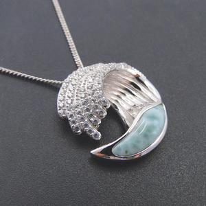 Image 3 - Hot Selling 925 Sterling Silver Natural Dominica Larimar Stone Wave Pendant Necklace for Women Gift
