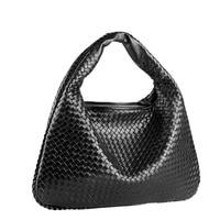 Women Shoulder Bag Genuine Leather Soft Lambskin Hand Weave Tote Shopping Purse Female Hobo Handbag Brand Designer
