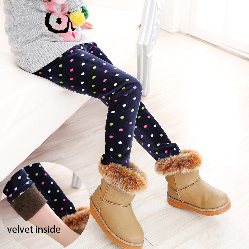 Winter girl Pants Warm velvet Kids girl Leggings pants baby legging Children Dots Print Warm Trousers Girl Pencil Pants 3-7T 1