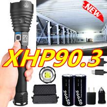 600000 blask XHP90 3 najbardziej potężne latarka LED 18650 lub 26650 latarka LED na USB XHP70 2 XHP50 latarnia latarka myśliwska lampa ręczna tanie tanio JIAMEN CN (pochodzenie) Odporny na wstrząsy Samoobrona POWER BANK Twarde Światło Wskaźnik laserowy Regulowany NEW2021