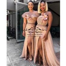Oro rosa lentejuelas sirena vestidos novia africanos 2021 estilo de talla grande país playa de Split vestido de dama de honor