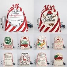 Natal grande meias sacos de natal sacos hessian santa saco de presente decoração saco de doces presente armazenamento drawstring saco 11 estilos
