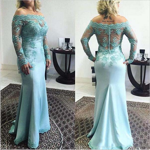 Turquoise Mother Of The Bride Dresses Mermaid Long Sleeves Appliques Beaded Plus Size Long Wedding Party Dress Mother Dresses