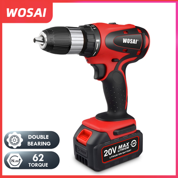 цена на WOSAI 20V Cordless Electric Hand Drill Lithium Battery Electric Drill Cordless 2-Speed Drill Electric Screwdriver Power Tools