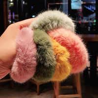 Nueva Banda de pelo de invierno de Scrunchie suave de piel sintética para mujer niñas cuerda de goma para cabello elástico accesorios para el cabello