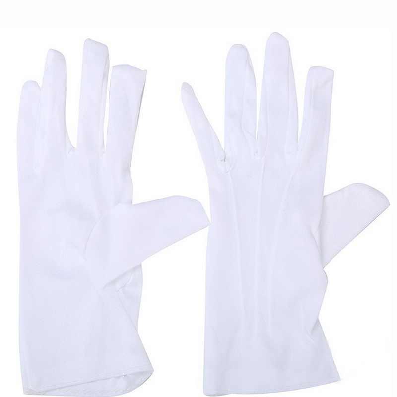 1 Pair Bianco Galateo Guanti Formale Ristorazione Guanti Antiscivolo Resistente All'usura Guardia Santa Guanti di pelle Guanti Da Lavoro