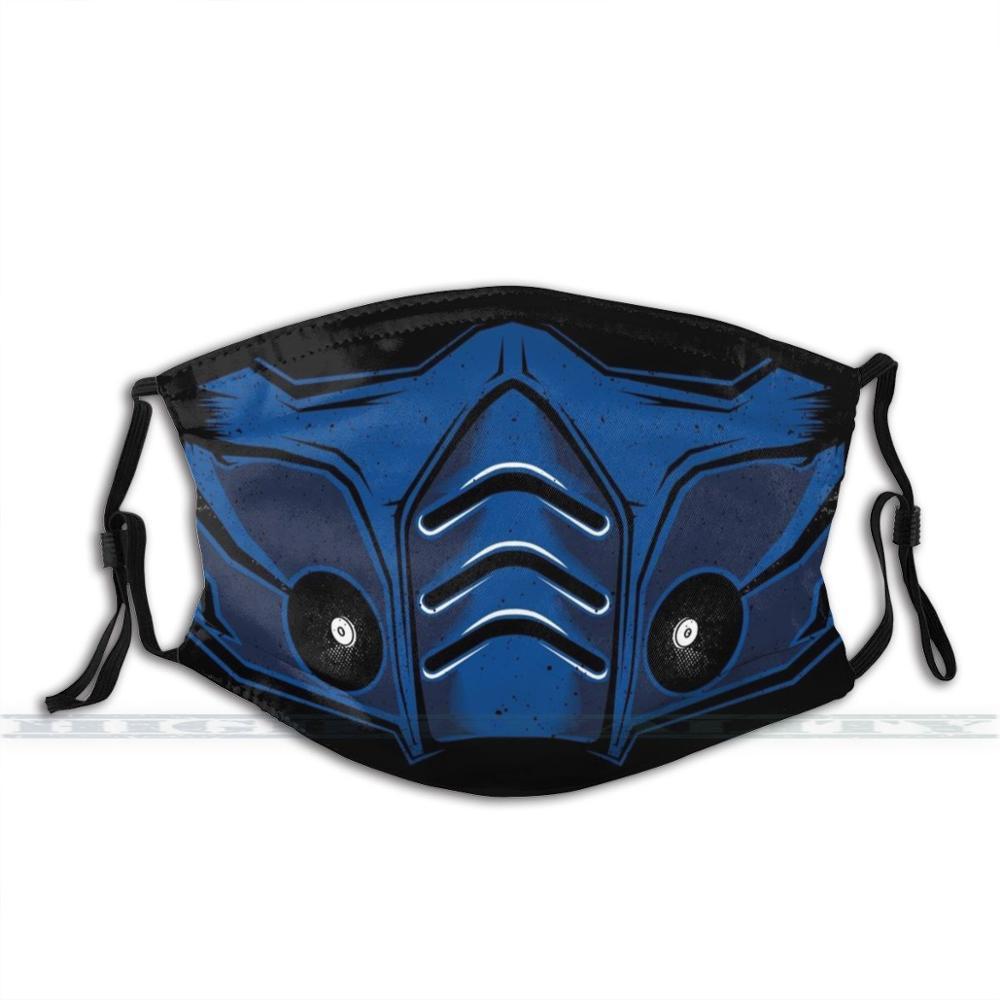 Mortal kombat sub-zero meia máscara facial 3d impressão reutilizável boca máscara lavável filtro anti poeira máscara facial mortal kombat sub
