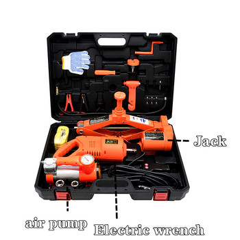 12V 3 Ton Car Electric Jack  Lift Scissor Jack Tire with Air Pump Electric Wrench Auto Repair Tool Set