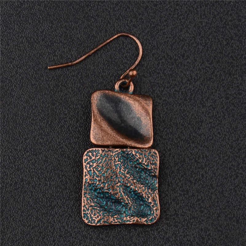 CARTER LISA ทิเบตอินเดีย Retro เรขาคณิต Dangle โบราณสแควร์บรอนซ์ต่างหูสำหรับของขวัญผู้หญิงเครื่องประดับ pendientes