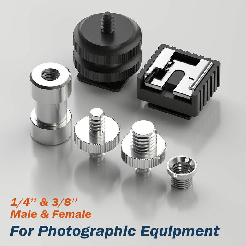 Promotion-vis de caméra, 22 pièces 1/4 pouces et 3/8 pouces convertisseur vis filetées adaptateur montage caméra chaussures chaudes montage à 1/4 ensemble f