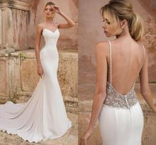 Gorgeous Beads Mermaid Wedding Dresses 2020 Spaghetti Straps Backless Sweep Train Beach Country Bridal Gowns vestidos de noiva