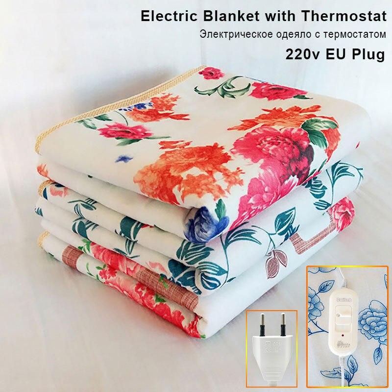 Электрическое одеяло с термостатом, более плотный обогреватель, двойное одеяло с подогревом, электрический нагревательный коврик Электроодеяла      АлиЭкспресс