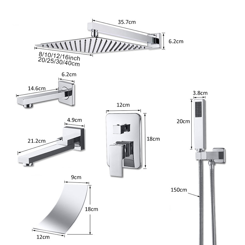 Hd4e7c03a82a24a79ad6ce54be09bf1d0c Suguword Chrome Concealed Bathroom Shower Faucet Set 8''10''12''16'' Rainfall Shower Head Wall Mounted Hot and Cold Mixer Tap