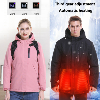 Men Women Winter USB Electric Heated Jacket Thicken Thermal Waterproof Windproof Coats Climbing Camping Hiking Sports Jackets