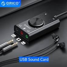 ORICO Portable USB carte son externe Microphone écouteur deux en un avec 3 ports Volume de sortie réglable pour Windows Mac Linux