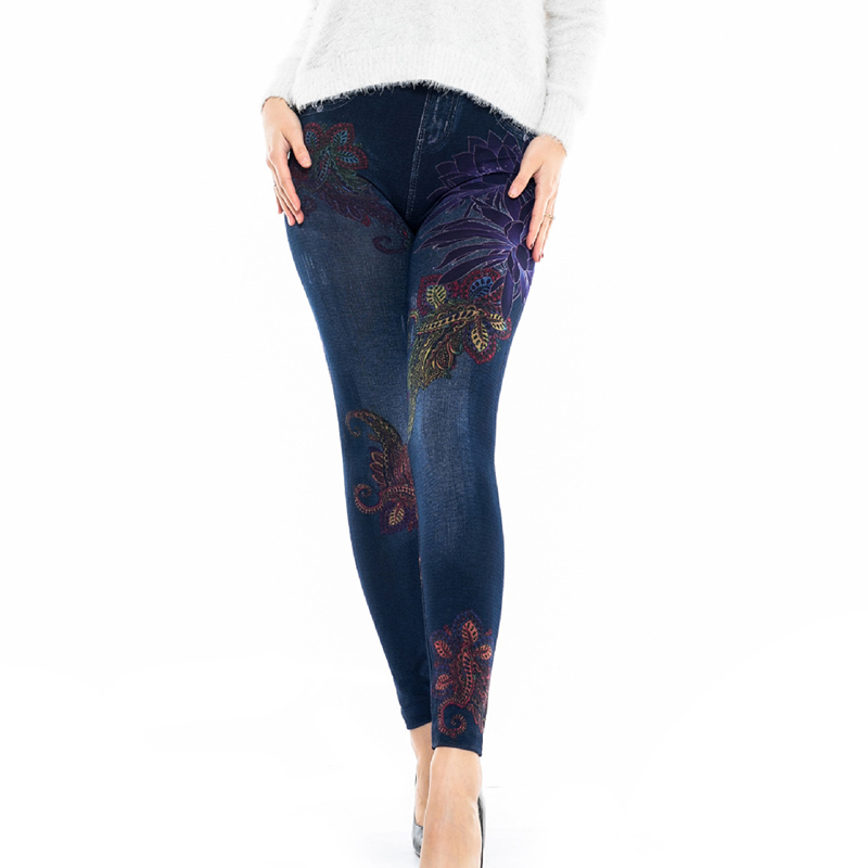 Fashion Women Leggings Floral Print Skinny Pants Leggins 2019 2XL Big Size Casual High Waist Stretch Leggings Bottoms