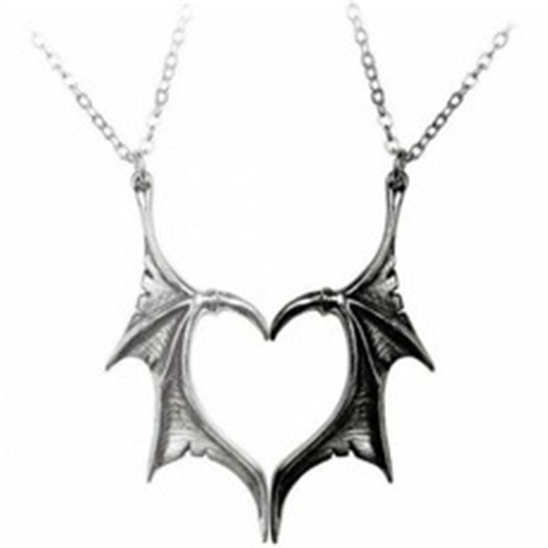 Уникальные панковские сердце ангела демон Крыло ангела кулон ожерелье для женщин и мужчин, для влюбленных пар винтажные массивные ссылка ю...