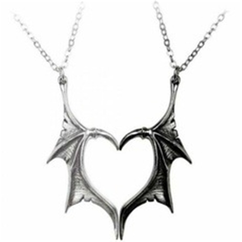 Personality Punk Heart Angel Demon Wing Pendant Necklace for Women Men Lovers Couples Vinatge Statement Link Rope Chain Jewelry