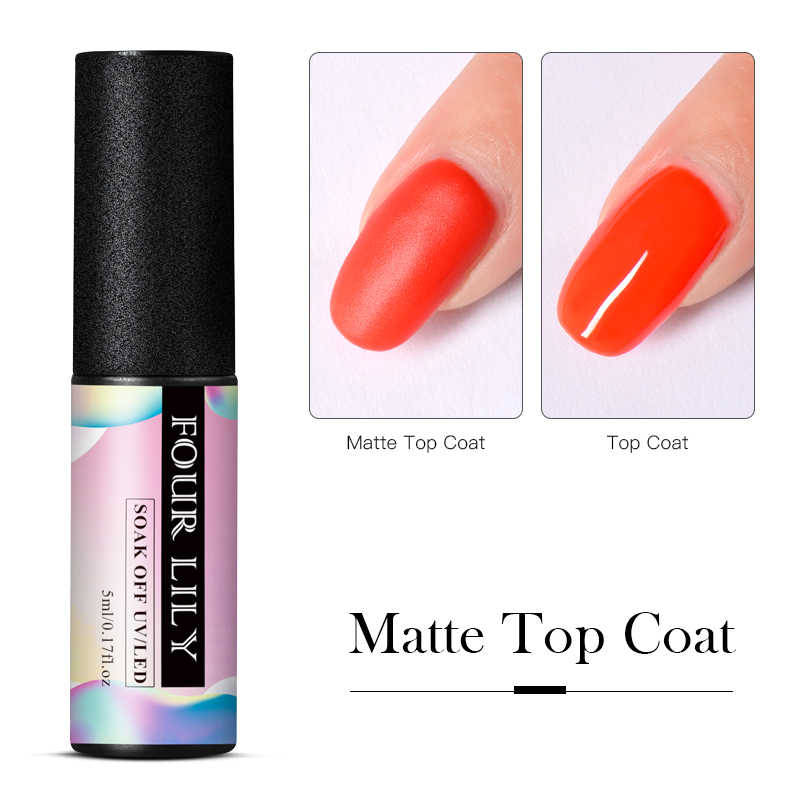 Vier Lelie Matte Top Coat Gel Lak Matt Top Coat Losweken Uv Nail Gel Polish Tips Lange Laatste Rubber top Manicure Varnish