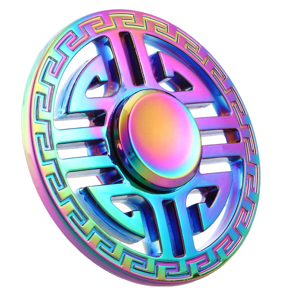 Round Rainbow EDC Fidget Spinner Metal Hands Spinner For Autism And ADHD Relief Focus Stress Gift Finger Toys