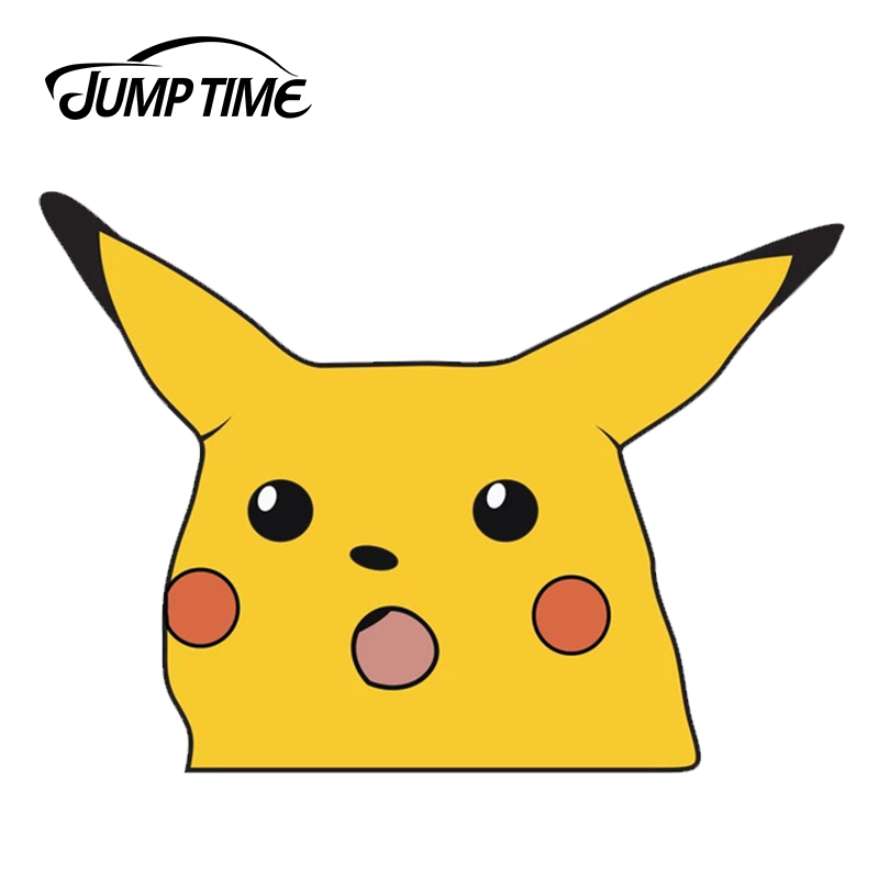 JumpTime 13cm X 9.4cm For Shocked Pikachu Sticker Anime Car Stickers Car Bumper Laptop Decal Waterproof Accessories