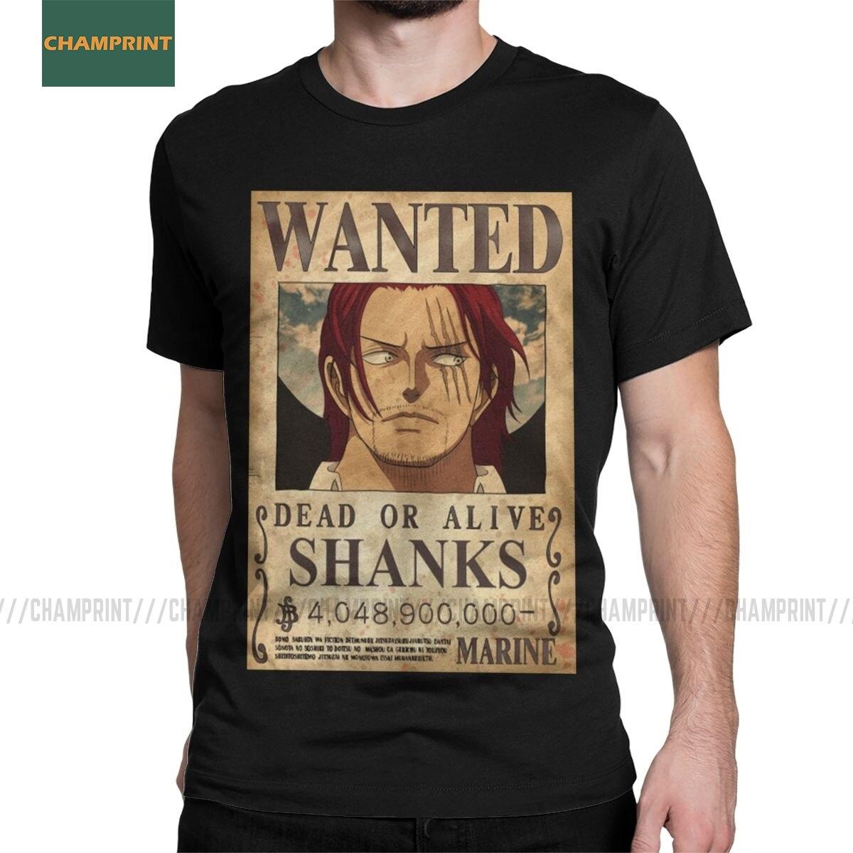 Shanks Red Hair One Piece T Shirt Men's 100% Cotton T-Shirt Luffy Zoro Japan Anime Pirates Tee Shirt Short Sleeve Tops Printed