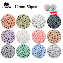 LOFCA 12mm 50pcs/lot Beads food grade silicone Teether Round Beads Baby Chewable Teething Beads silicone teether for diy
