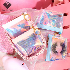 Wholesale Eyelash Packaging Laser Bags 25mm Mink Eyelashes Package In Bulk Colorful Lash Packages With Tray Jelly Coin Purse