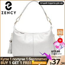 Zency moda kadın omuzdan askili çanta % 100% doğal deri kadın çanta püskül bayan Messenger Crossbody çanta küçük çanta Tote