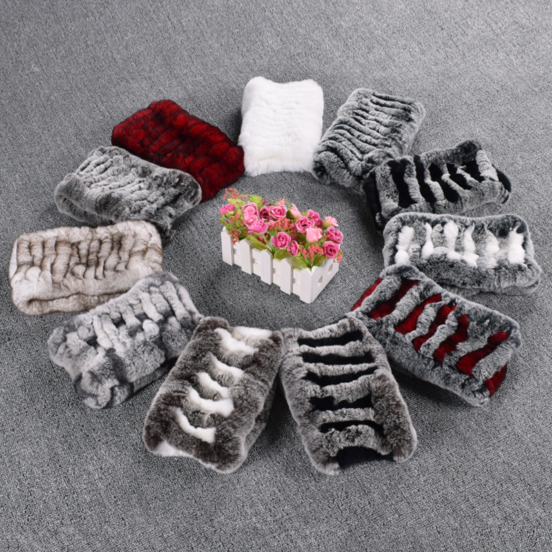 Natural Rabbit Fur Scarf Winter Warm Neck Warmer Striped Elastic Soft Women's Ring Scarves Fashionable Headbands