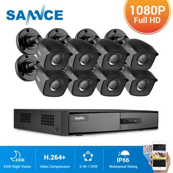 SANNCE 8CH 1080P Lite Video Security System 5IN1 1080N HDMI DVR With 4X 8X 1080P Outdoor Waterproof Smart IR Camera CCTV Set Kit цена 2017