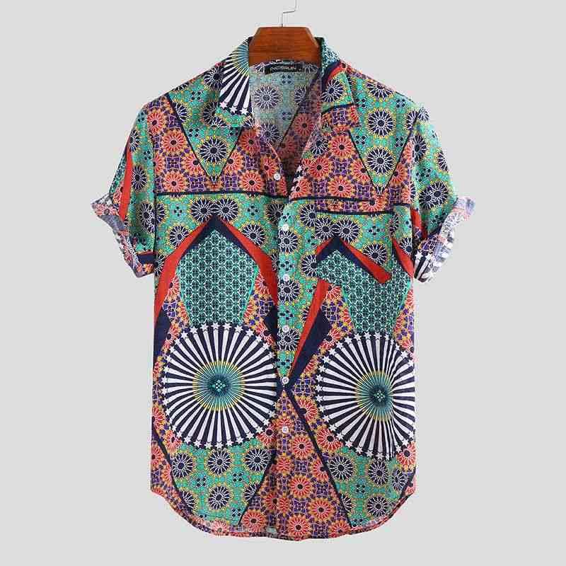 2020 夏男性プリントアロハシャツ半袖ビーチ緩い休暇ブランドストリート通気性男性シャツカミーサ Masculina