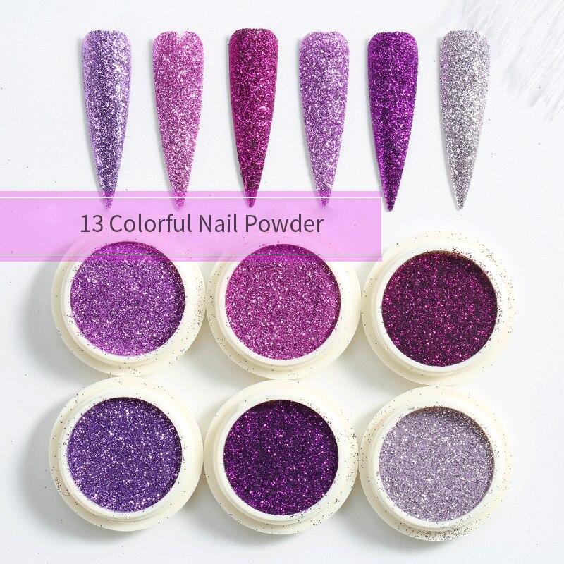 Nail Glitter Powder Set Sequin Mixed Mirror Powder Polishing  Manicuring Shining Paillette Nail Art Decorations Nail Powder