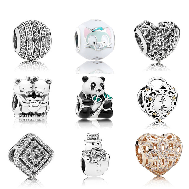 NEW 100% 925 Sterling Silver Love the panda Hollow out crystal Charm Beads Fit Bracelet DIY bracelet The factory wholesale