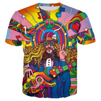 Hippie Guitar Rainbow 3D Print T shirt Men/women Hipster Streetwear Tshirt Boys New Design Tees Nation Style Indie Folk Clothes