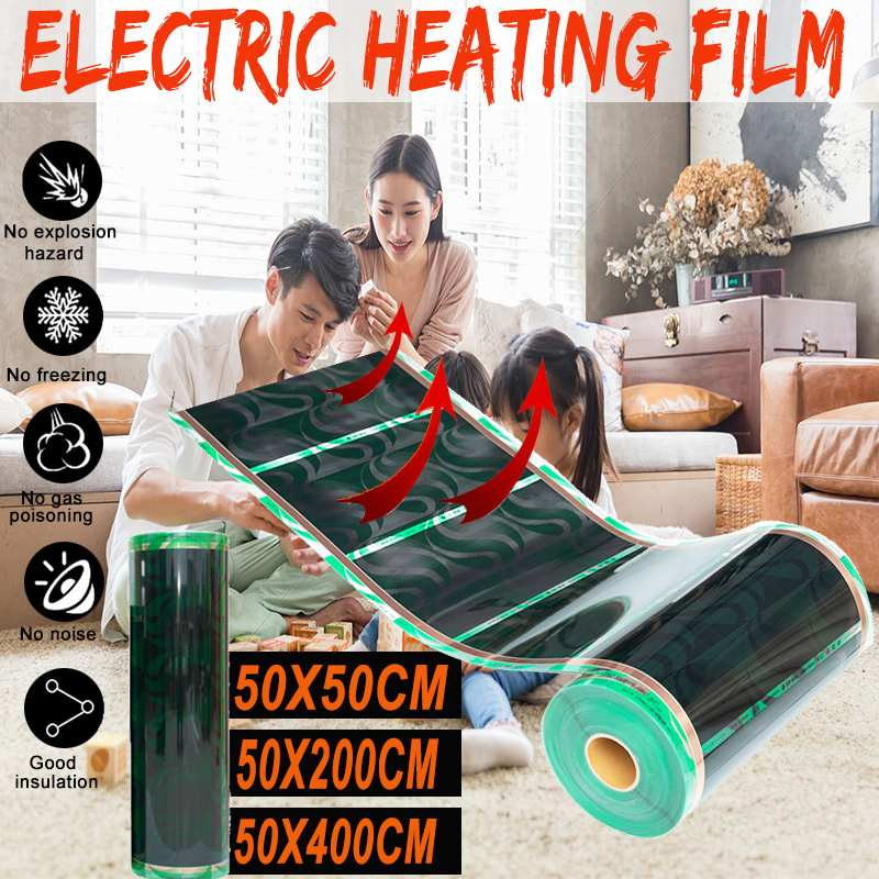 50cmx0.5M/2M /4M Far Infrared Underfloor Heating Film PTC Carbon Fiber Electric Floor Warming Mat Film Energy Saving