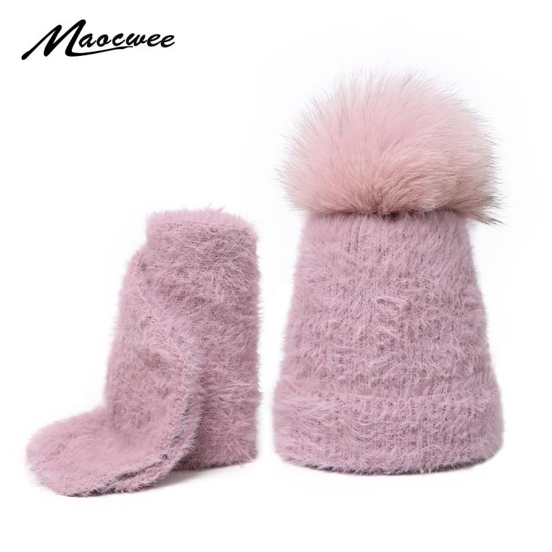 Scarf Set Real Fur Pom Pom Hat Children Winter Female Warm Wool Nature Fur Crochet Beanie Knitted Soft Solid Elasticity