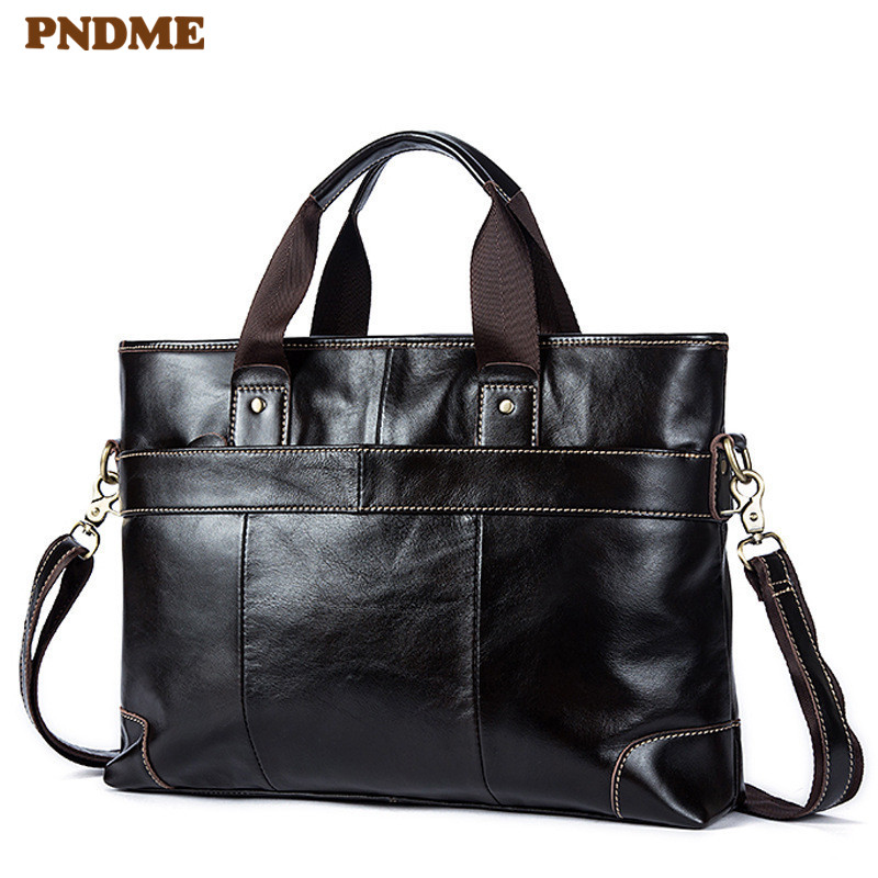 PNDME Business Genuine Leather Men's 14-inch Laptop Briefcase Natural Real Fur Soft Cowhider Handbag Work Shoulder Messenger Bag