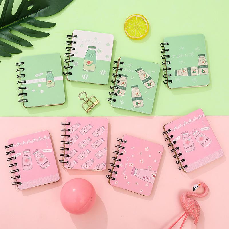1Pcs Cute Mini Fruit Avocado Peach Milk Bottle Pocket Portable Spiral Notebooks Notepad Diary Planner School Office Stationery