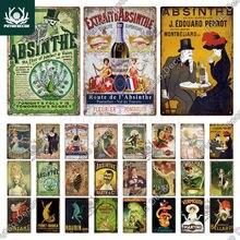 Putuo decoração engraçado absinto cartaz do vintage estanho sinais de metal cerveja placa decorativa para pub bar homem caverna clube decoração de parede