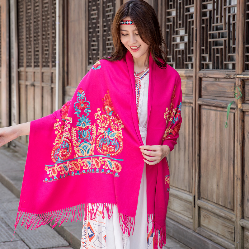 Thickened Warmth Travel And Vacation Foulard Ethnic Style Scarf Women Autumn And Winter Embroidered Flower Shawl Шарфы Женские