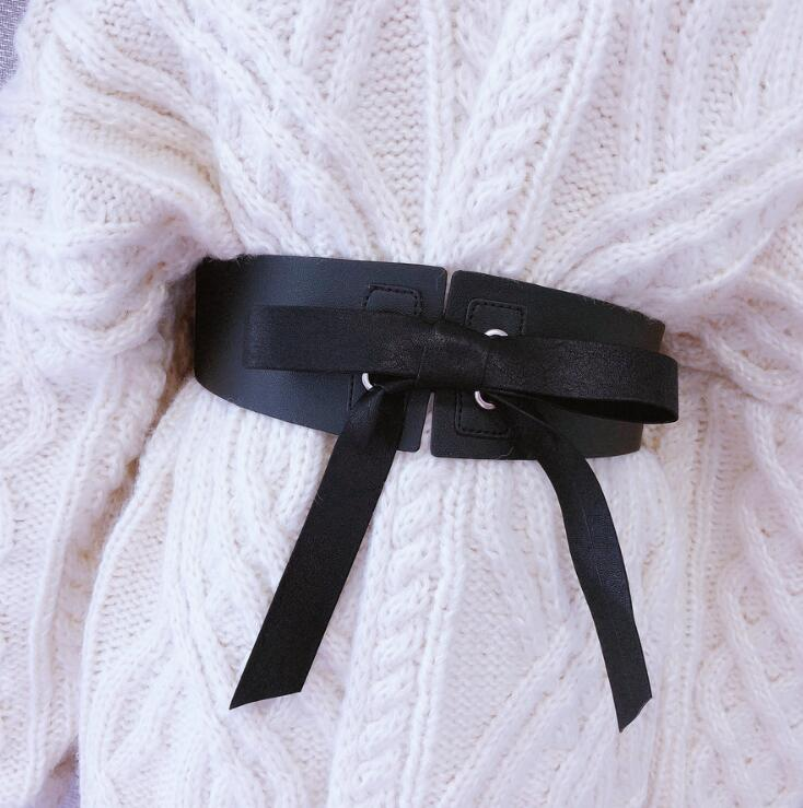 Women's Runway Fashion Bow PU Leather Cummerbunds Female Dress Coat Corsets Waistband Belts Decoration Wide Belt R1745