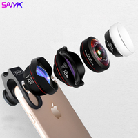 SANYK HD 4 In 1 Phone Lens Set Undistorted Wide Angle Lens Macro Lens Super Fisheye Lens 3X Telephoto SLR Level Lens