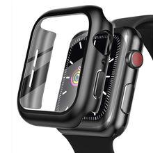 Capa para apple assista caso 44mm 40mm iwatch 42mm 38mm amortecedor vidro temperado 44 42 38 42mm para apple assistir série 4 3 5 se 6
