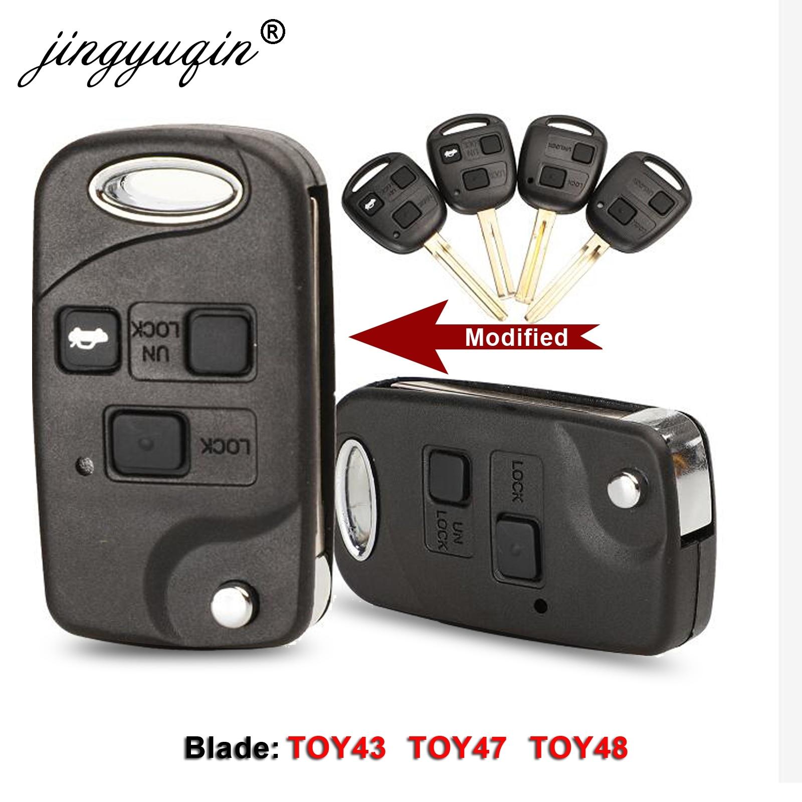 Remote Car Key Shell Case 2/3 BTN For Toyota Yaris Prado Tarago Camry Corolla TOY43 / TOY47 / TOY48 Blade +Rubber Button Pad